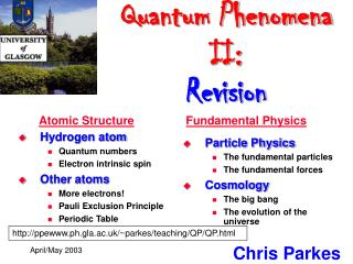 Quantum Phenomena II: Revision