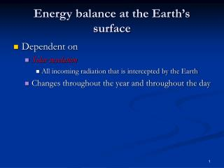 Energy balance at the Earth's surface
