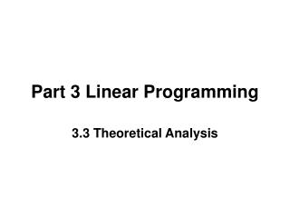 Part 3 Linear Programming