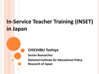 In-Service Teacher Training (INSET) in Japan