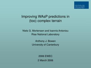 Improving WAsP predictions in (too) complex terrain