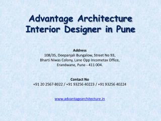 Advantage Architecture Interior Designer - decorator  Pune