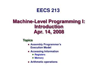 Machine-Level Programming I: Introduction Apr. 14, 2008
