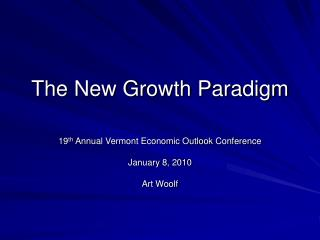The New Growth Paradigm