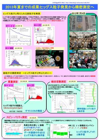 2013 年夏までの成果 : ヒッグス 粒子 発見から精密 測定 へ