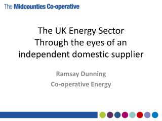 The UK Energy Sector Through the eyes of an independent domestic supplier