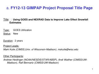 a.  FY12-13 GIMPAP Project Proposal Title Page