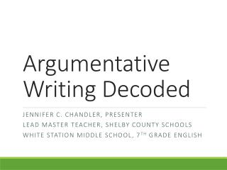Argumentative Writing Decoded