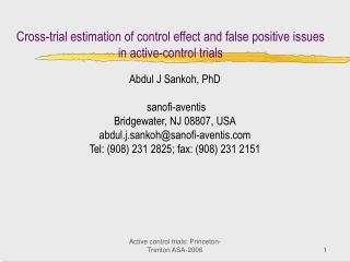 Active control trials: Princeton-Trenton ASA-2006