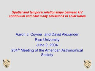 Spatial and temporal relationships between UV continuum and hard x-ray emissions in solar flares