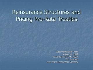 Reinsurance Structures and Pricing Pro-Rata Treaties