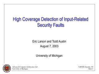 High Coverage Detection of Input-Related Security Faults