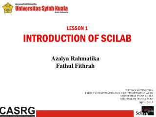 LESSON  1 INTRODUCTION OF  SCILAB