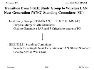 Transition from 5 GHz Study Group to Wireless LAN Next Generation (WNG) Standing Committee (SC)
