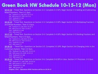 Green Book HW Schedule 10-15-12 (Mon)