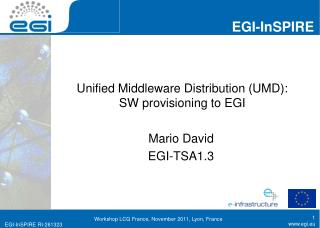 Unified Middleware Distribution (UMD): SW provisioning to EGI