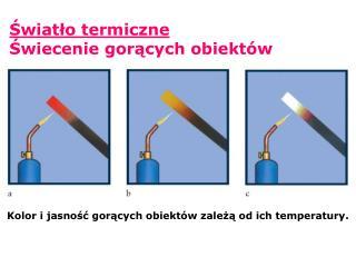 Kolor i jasnosc goracych obiekt w zaleza od ich temperatury.