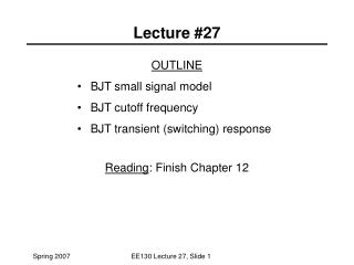 Lecture #27