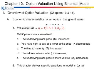 Chapter 12.  Option Valuation Using Binomial Model