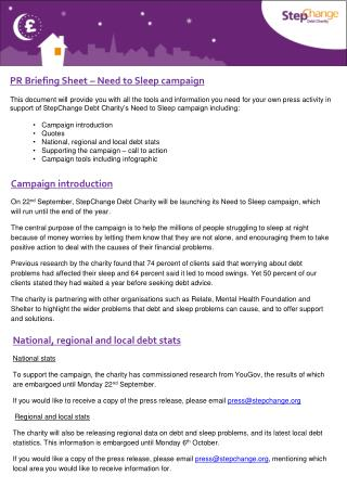 PR Briefing Sheet – Need to Sleep  campaign