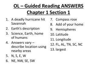OL – Guided Reading ANSWERS Chapter 1 Section 1
