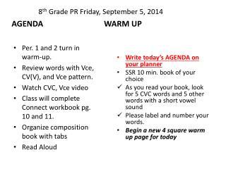8 th  Grade PR  Friday,  September  5,  2014