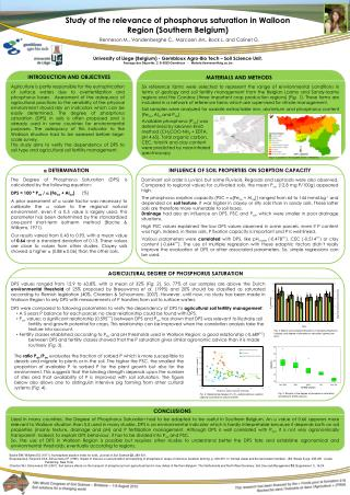 Study of the relevance of phosphorus saturation in Walloon Region (Southern Belgium)