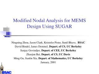 Modified Nodal Analysis for MEMS Design Using SUGAR