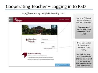 Cooperating Teacher – Logging in to PSD