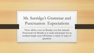 Mr.  Surridge's  Grammar and Punctuation  Expectations