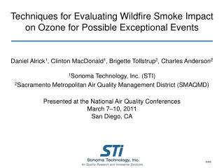 Techniques for Evaluating Wildfire Smoke Impact on Ozone for Possible Exceptional Events