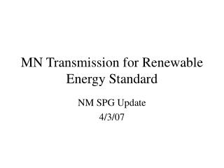 MN Transmission for Renewable Energy Standard