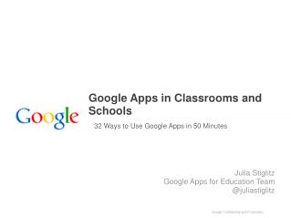 Google Apps in Classrooms and Schools�