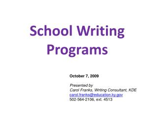 School Writing Programs