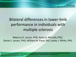 Bilateral differences in lower-limb performance in individuals with multiple sclerosis