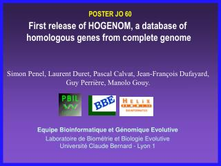 First release of HOGENOM, a database of   homologous genes from complete genome