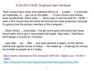 3 Oct 2013 GUIS: Graphical User Interfaces