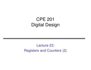 CPE 201 Digital Design