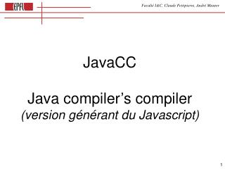 JavaCC Java compiler's compiler (version générant du Javascript)