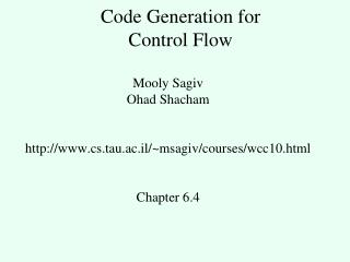 Code Generation for Control Flow