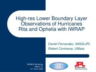 High-res Lower Boundary Layer Observations of Hurricanes  Rita and Ophelia with IWRAP