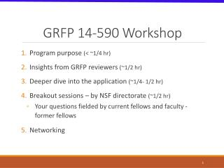 GRFP 14-590 Workshop