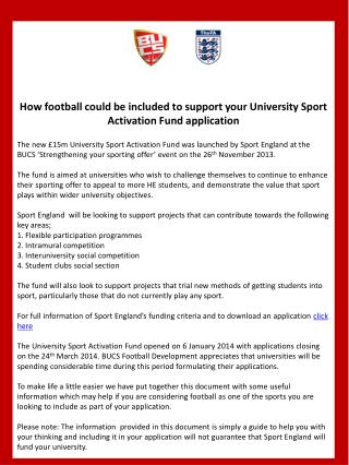 How football could be included to support your University Sport Activation Fund application
