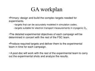 GA workplan