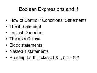 Boolean Expressions and If