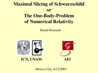 Maximal Slicing of Schwarzschild or The One-Body-Problem  of Numerical Relativity