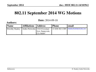802.11 September 2014 WG Motions