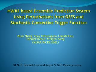 Zhan Zhang, Vijay  Tallapragada ,  Chanh Kieu , Samuel Trahan,  Weiguo  Wang (NOAA/NCEP/EMC)