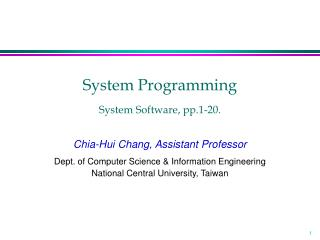 System Programming System Software, pp.1-20.