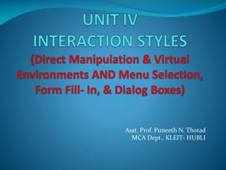 Asst. Prof.  Puneeth  N.  Thotad MCA Dept., KLEIT- HUBLI